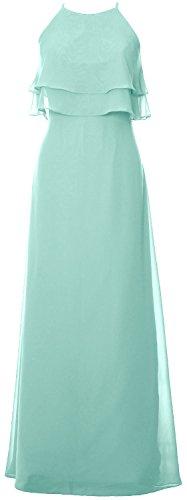MACloth Elegant Long Bridesmaid Dress Tiered Chiffon Wedding Party Formal Gown Aqua