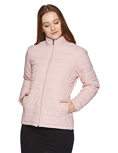 Qube By Fort Collins Women's Nylon Bomber Jacket (24702 SMU_Peach_M)