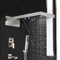Luxus Nickel gebürstet Wasserfall Regen Duschkopf Wanne Auslauf mit Handbrause Mixer, klar (Regen Duschkopf Nickel Gebürstet)