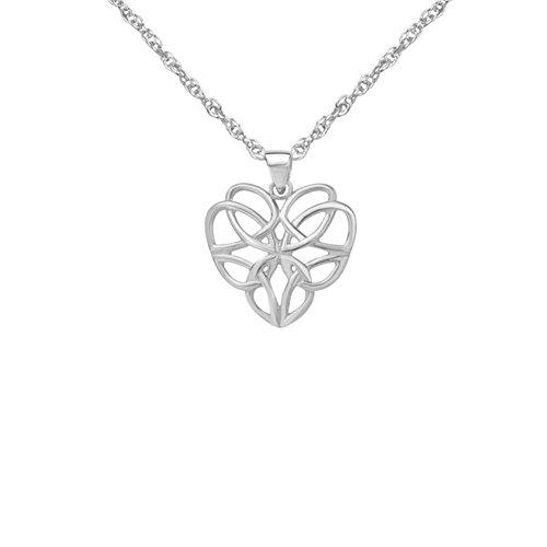 Pendente celtico tradizionale della collana a forma di cuore di amore intrecciato knotwork di eternità dell'argento sterlina - include un 16