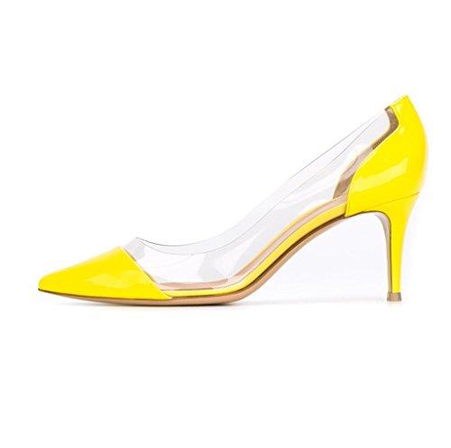 Kolnoo 65mm Damen Transparent Pumps Knitte Heel Geschlossen Schuhe Yellow