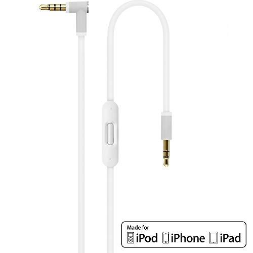 Ersatz Weiß Audio AUX Kabel Verlängerungskabel für Beats by Dr Dre / Monster Kopfhörer mit Inline-Mikrofon Studio | Solo | Wireless | Pro | Mixr - Lautstärkeregler, und Anrufannahme iPhone -3,5mm 1.4m (Audio Wireless Kopfhörer)