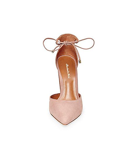 Minetom Women Ankle Lace-Up High Block Heel Office Work Court Shoes Pointed Toe Suede High Heel Shoes Sandals