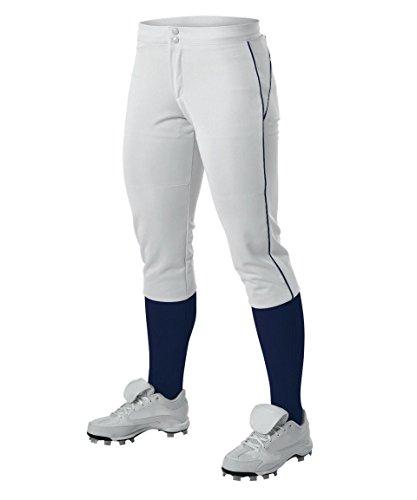 Alleson Ahtletic Damen Fastpitch/Softball Hose mit Gürtelschlaufen, Damen, weiß/Marineblau, Large