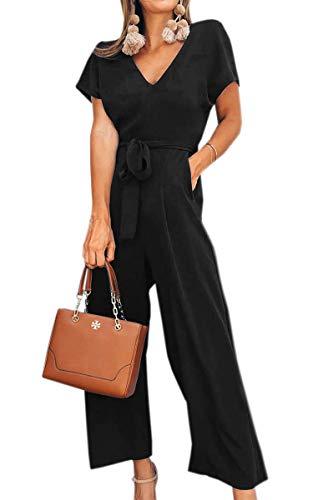 Schuhe Kleidung Bekleidung (Spec4Y Damen Sommer Lang Jumpsuit V-Ausschnitt Kurzarm Overall Einfarbig Casual Hosenanzug mit Taschen und Gürtel Schwarz L)