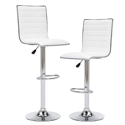 IntimaTe WM Heart 2 x Sgabelli da Bar per Cucina sedie Moderni 360 ° Regolabile Girevole Sgabello da Bar con Schienale in Pelle PU,Moderno Bianco