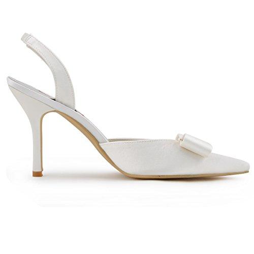 Elegantpark HC1404 bout pointu arc bride arri¨¨re Escarpins Femmes sandale Satin Chaussures de mari¨¦e Ivoire