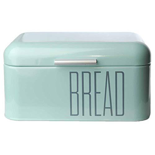 Brotkasten Brotbox Metall Bambus Brotbehälter mit Deckel Bambusdeckel Brot Aufbewahrung Box Kiste (Metall-Mint)