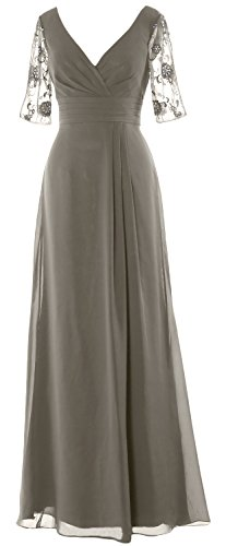 MACloth Women Half Sleeves Long Mother of the Bride Dress V Neck Formal Gown Pewter