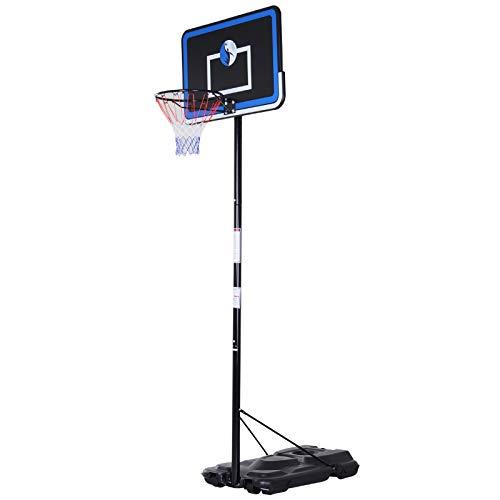 Homcom Panier de Basket-Ball sur Pied avec Poteau Panneau, Base de lestage sur roulettes Hauteur réglable 2,6-3,05 m Noir Bleu