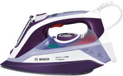 Bosch Sensixx'x DI90 - Plancha Plancha vapor-seco, Suela Ceranium Glisée Pro, 2,5 m, Violeta, Blanco...
