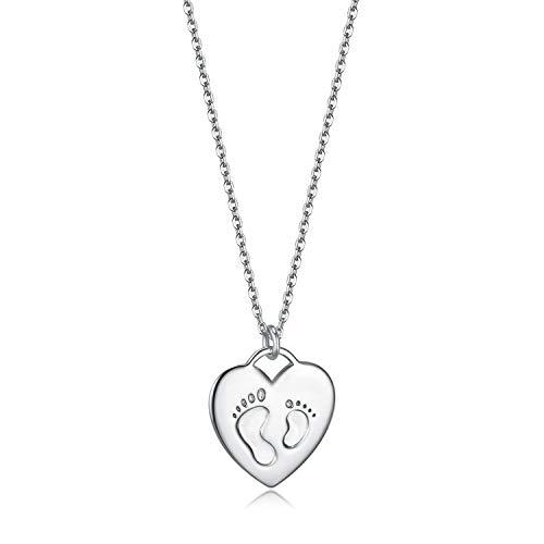 Essie Odila Kette Damen Silber Herz Halskette für Frauen Mutter Tochter Fußabdruck Silberketten Vergoldet 925 Sterling Silver Goldkette zum Muttertag (Halloween E Que Dia)