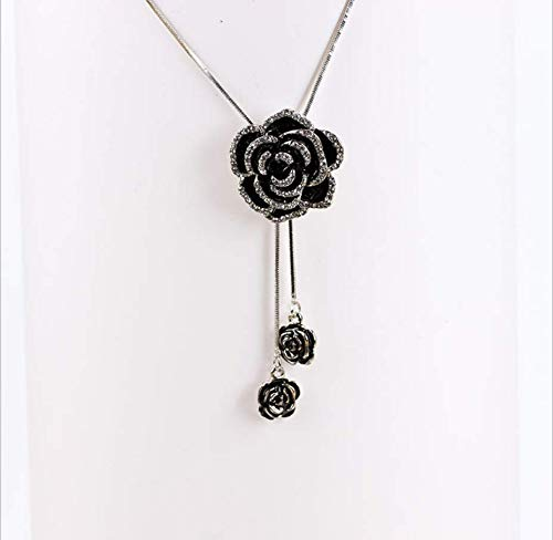 Your boy-HT Full Diamond Rose Necklace Double Flower Sweater Chain Wild Tassel Accessories Exquisite and Simple, Stylish and Versatile -