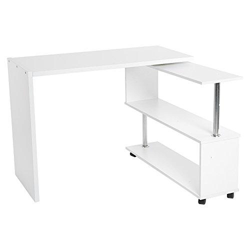 Zerone 360 Grad drehbarer Computertisch,Bürotisch,Arbeitstisch aus Spanplatten mit dem Bücherregal (Weiß,Schwarz,100 x 48 x 75cm) (Weiß)