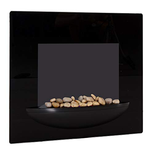 Homcom camino elettrico a parete potenza 900w /1800w con timer in ferro e vetro temperato 66 × 52 × 15.5cm nero