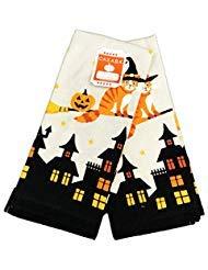 Casaba Süße Hexe Katze Flying über Gejagt Häuser Happy Halloween Themed Set von Zwei Deko Küche Handtücher