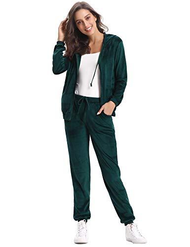 Grüne Velour Hose (Abollria Damen Hausanzug Velours Trainingsanzug mit Samtoptik Kapuzejacke mit Reißverschluss Hose mit Kordelzug und Taschen)