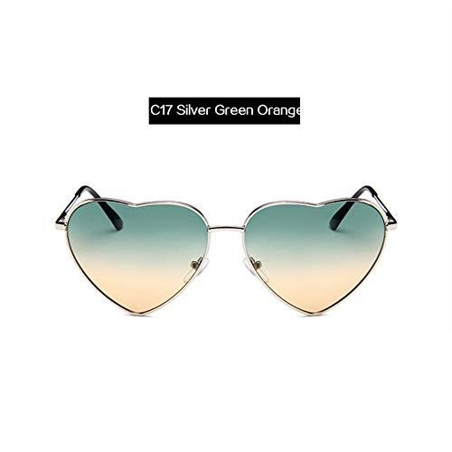 ZHOUYF Sonnenbrille Fahrerbrille Metallrahmen Herz-Förmige Sonnenbrille Frauen Cat Eye Sun Glasses 20 Farben Drop Shipping, Q