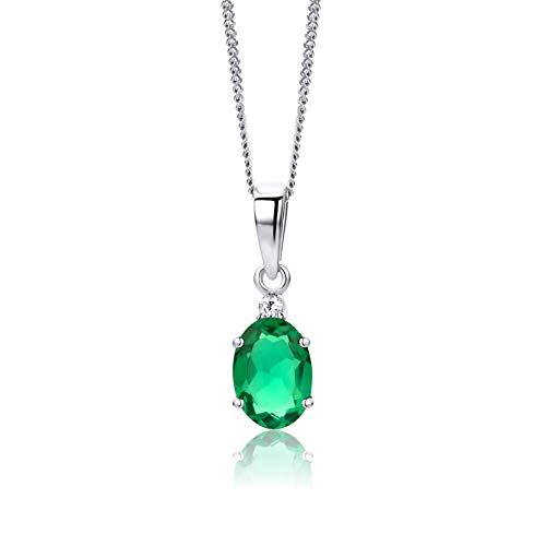 n Weißgold 9 Karat/375 Gold Diamant Anhänger mit Smaragd Kette 45 cm Schmuck für Frauen ()