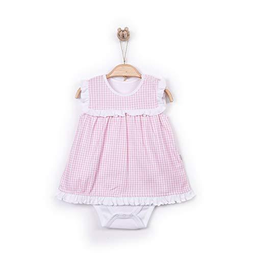 Smart Dress Ärmelloser Babybody Top Kleid Frühling Sommer Bodyform im Kleider Look in rosa bis Größe 74 Rosa 62