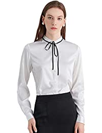 9afbd2bf744d21 LILYSILK Ladies Sleek Tie Neck Silk Blouse Long Sleeve Women's Top Shirt  Pure 19 Momme Silk
