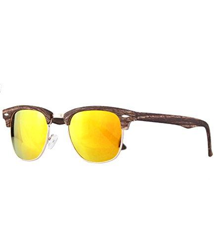Caripe Retro Sonnenbrille Vintage 50er 60er 80er Damen Herren Halbrahmen Verspiegelt - clu2 (woodoptic dunkelbraun - sun verspiegelt)