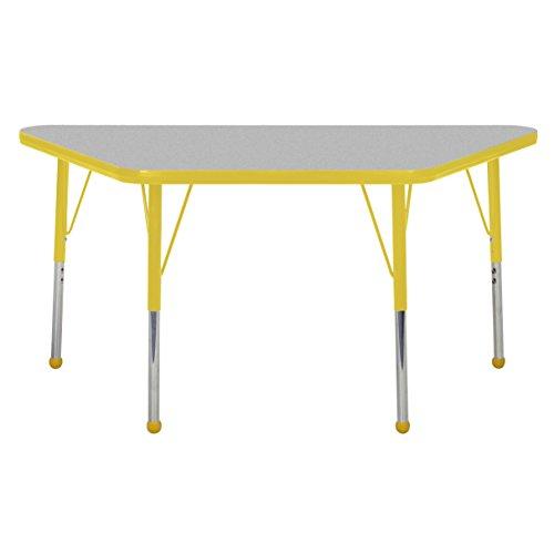 ECR4Kids elr-14926-gye-sb Mesa thermo-fused 61x 121,9cm Trapez Aktivität Schule Tisch, Standard Beine W/BALL gleitet, höhenverstellbar 48,3cm-30 (Trapez-aktivität Tabelle)