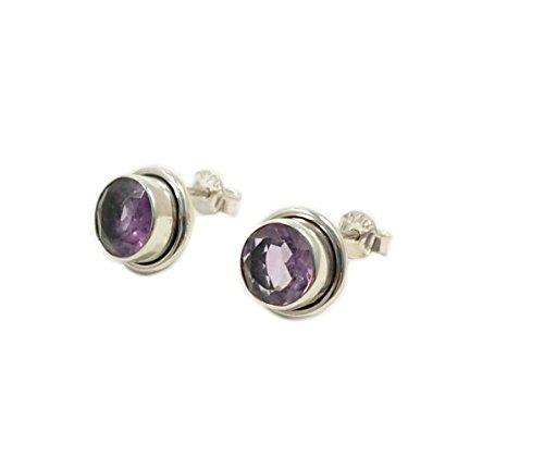HELOISE Jewels 925Sterling Silber Ohrstecker mit runden Amethyst Steinen