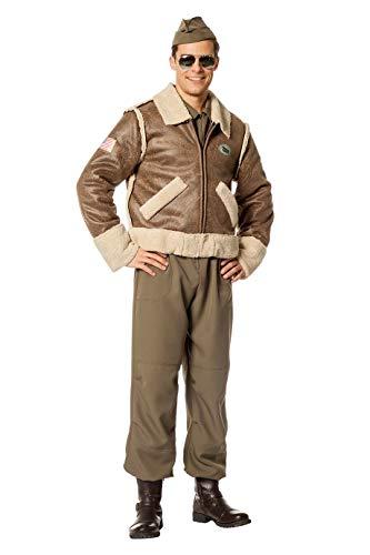 The Fantasy Tailors Piloten-Kostüm Damen Bomber-Jacke Oliv-grün 50er Jahre Tarnfarbe Militärunform Armee Army Luftwaffe Marine Karneval...
