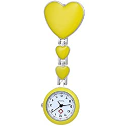Lapel Fob Watch For Nurses With Three Yellow Heart Clip on Brooch