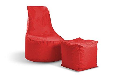 Sitzsack Set Mia Swing + Cube Hocker Rot