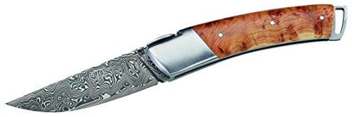 Couteau pliant de Gilles Couteau Couteau de poche 160 couches acier Damas Étui en cuir