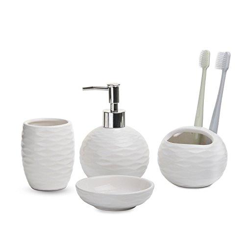 ComSaf Teilig Badzimmer Bad Accessoires Weiß Packung mit 4, aus Keramik Seifenspender Seifenschale Zahnputzbecher ZAH