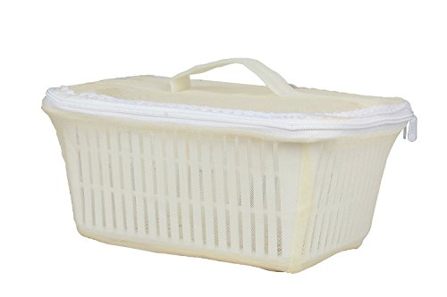 Tanyash Plastic Fruit Basket with Cover, Off White