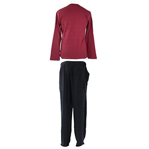 Pull à manches longues et bouton pyjama Long 100% coton pour pyjama Pantalon pyjama Salon Idée de Cadeau de Noël Père Noël Conception de Noël M/XL Marron - Vine