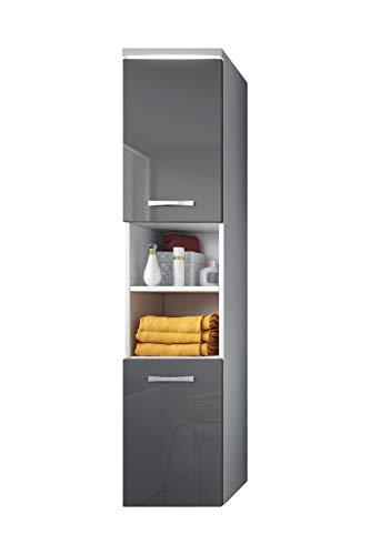 Badezimmer Schrank Paso 160 cm Hochglanz Grau Fronten - Regal Schrank Hochschrank Schrank Möbel