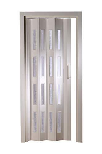 Kunststoff - Falttür mit 4 Fenster Luciana weiß 88,5x202 cm doppelwandig 10 mm; Made in Italy