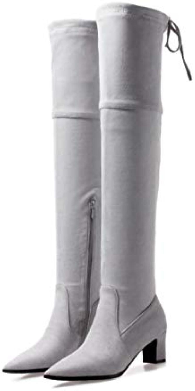 DANDANJIE Stivali da Donna Stretch Over The Knee Knee Knee stivali Chunky Heel 2018 Autunno Inverno Scarpe (Coloreee   Grigio...   I Materiali Superiori    Uomini/Donne Scarpa  8f868c