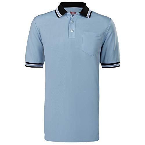 Adams Baseball und Softball Umpire Shirt mit Rückenbelüftung, Unisex-Erwachsene, Baseball and Softball Umpire Shirt with Back Vent, Powder Blue/Black, Small, Powder Blue/Black, Small -