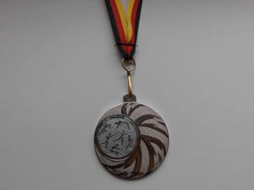 20 x Medaillen - aus Stahl 45mm - mit einem Emblem, Leichtathletik - Laufen - Weitsprung - Speerwerfen - inkl. Medaillen-Band - Farbe: Silber - mit Emblem 25mm - (e108) -