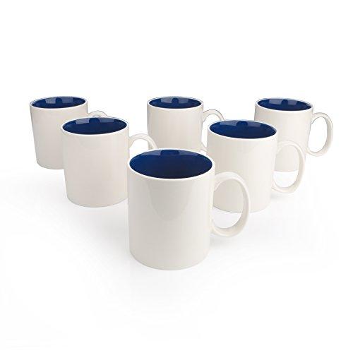 Kaffeebecher aus Porzellan, Panbado 6-teilig Set Tassen, 500 ml Kaffeetassen, Becherset, Dunkelblau...