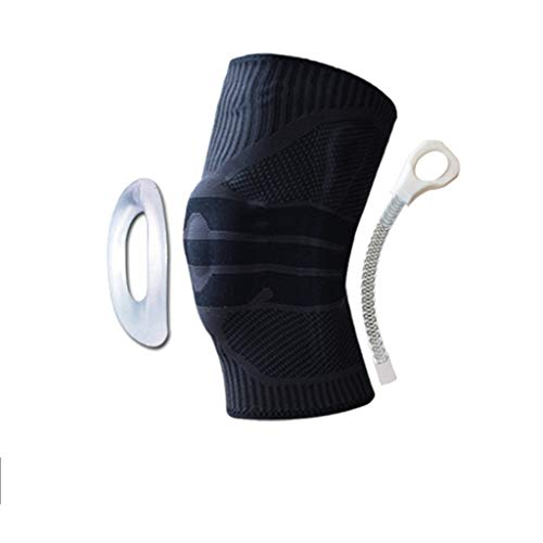 Essential Basketball (Sport Knieschützer Männer Basketball Essential Supplies Laufen Professionelle Tiefe Knöchel Meniskus Knie Silikon Schutzausrüstung Weiblich XINYALAMP (Color : Black, Size : L))