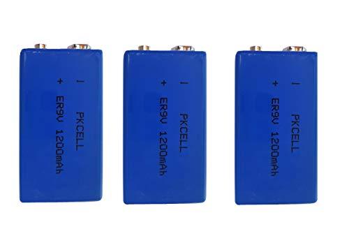 3 x ER9V 9V Block (1200 mAh) Lithium Langzeitbatterie Rauchmelder EINWEG (3 Batterien Eunicell)