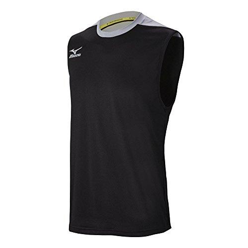 Mizuno Men's Cutoff Volleyball Jersey, Black/Silver, XX-Small