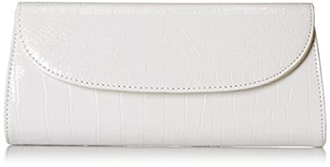 Bundle Monster Womens Fashion Classy Envelope Evening Patent Croc Skin Embossed Clutch Hand Bag Purse, POWDER WHITE