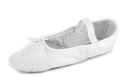 YUMP YUMPZ Balletschuh Moondancer Weiß - Ballettschuhe Aus natürlichem Soft-Leder und Rauledersohle- Turnschläppchen/Gymnastikschuhe – in Gr.40