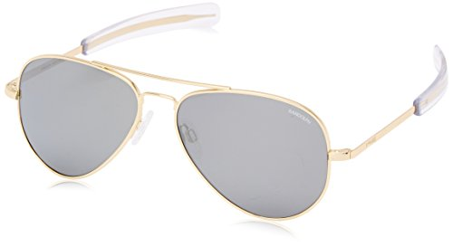 Randolph Engineering Concorde 23K Gold Plated Sunglasses - Gray Flash Mirror Glass Bayonet 57MM