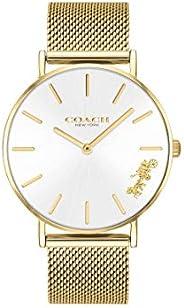 ساعة للنساء من كوتش مزودة بمينا فضي وسوار ستيل 1 مطلي بطبقة رقيقة من الذهب الايوني - 14503125