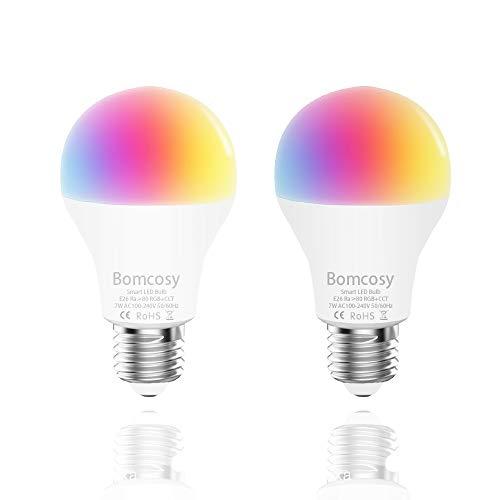 Smart Alexa Lampe 7W E27 RGB CW Dimmbar LED WiFi Glühbirne Steuerbar via App Kompatibel mit Smartphone Amazon Alexa Google Home 60W äquivalent Keine Hub Erforderlich 2 Stück