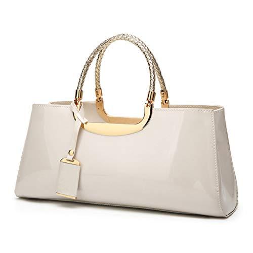 Fashion Patent Leather Structured Shoulder Handbag Women Evening Party Satchel Crossbody Top Handle Bags -